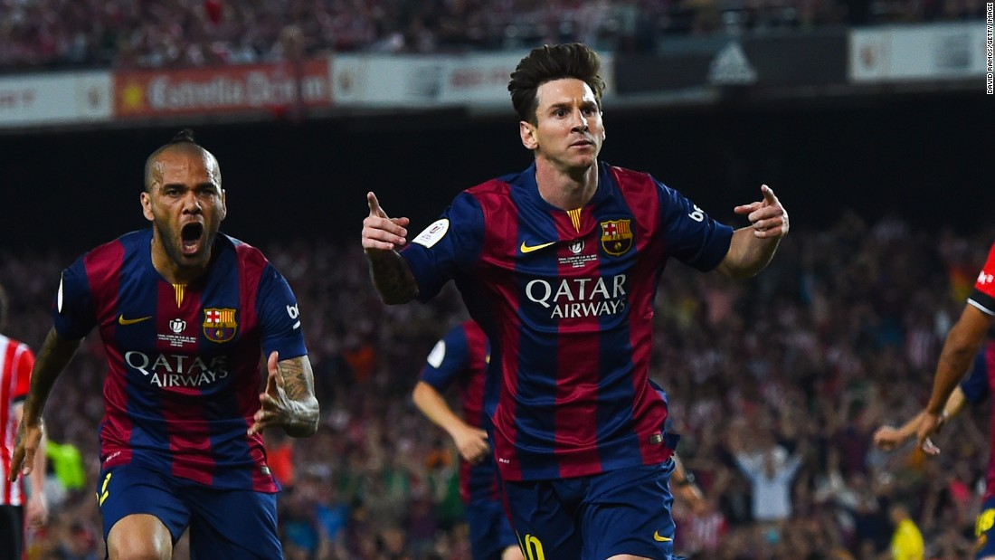 Messi celebrates his stunning opening goal in the 3-1 Copa del Rey final victory over Athletic Bilbao. The Argentine grabbed a second later in the game.
