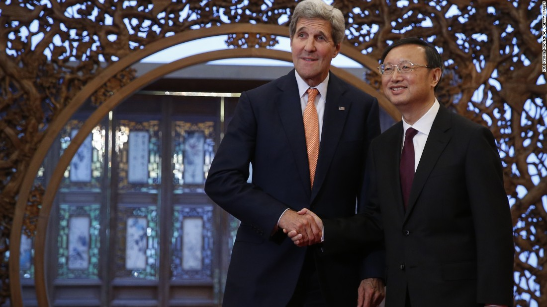 Kerry speaks with China's State Councilor Yang Jiechi at the Diaoyutai State Guest House on May 16 in Beijing. Kerry is urging China to halt increasingly assertive actions it is taking in the South China Sea.