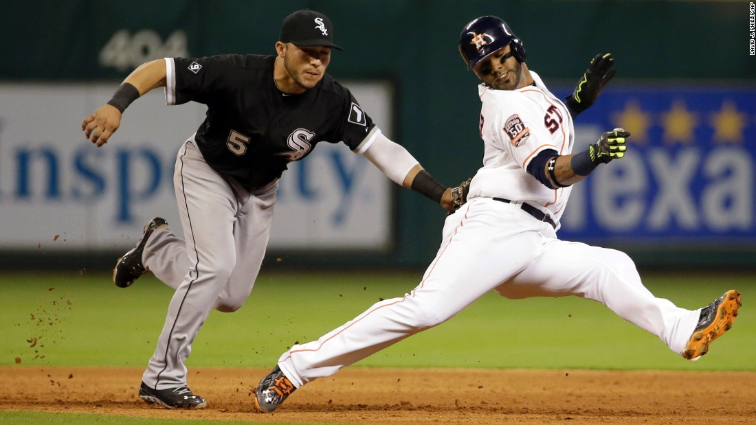 Jonathan Villar of the Houston Astros is tagged out by Carlos Sanchez of the Chicago White Sox during a Major League Baseball game in Houston on Saturday, May 30.