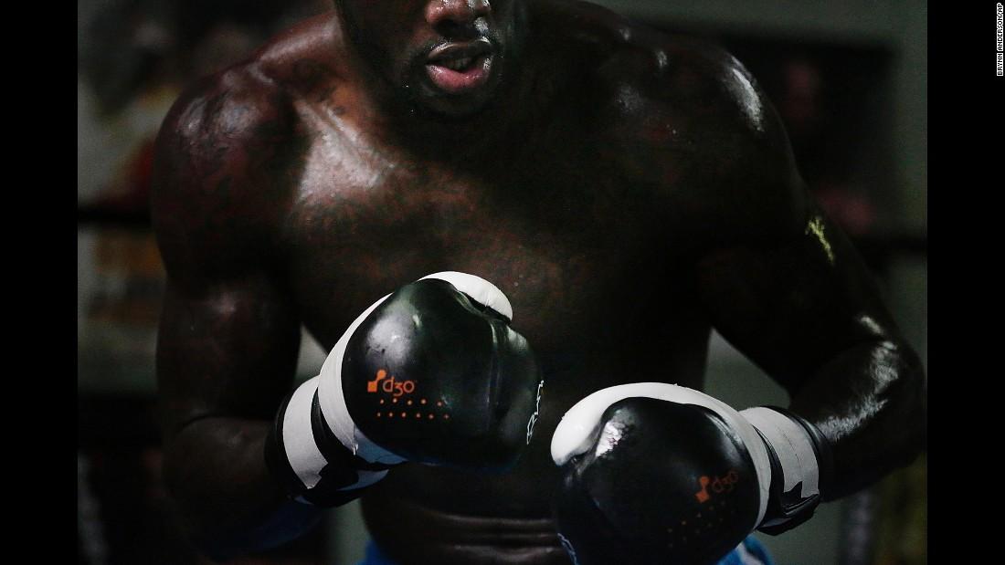 Boxer Deontay Wilder, who holds the WBC heavyweight title, works out at a gym in Northport, Alabama, on Thursday, May 28. He is training for his first title defense -- a bout against Eric Molina on June 13.