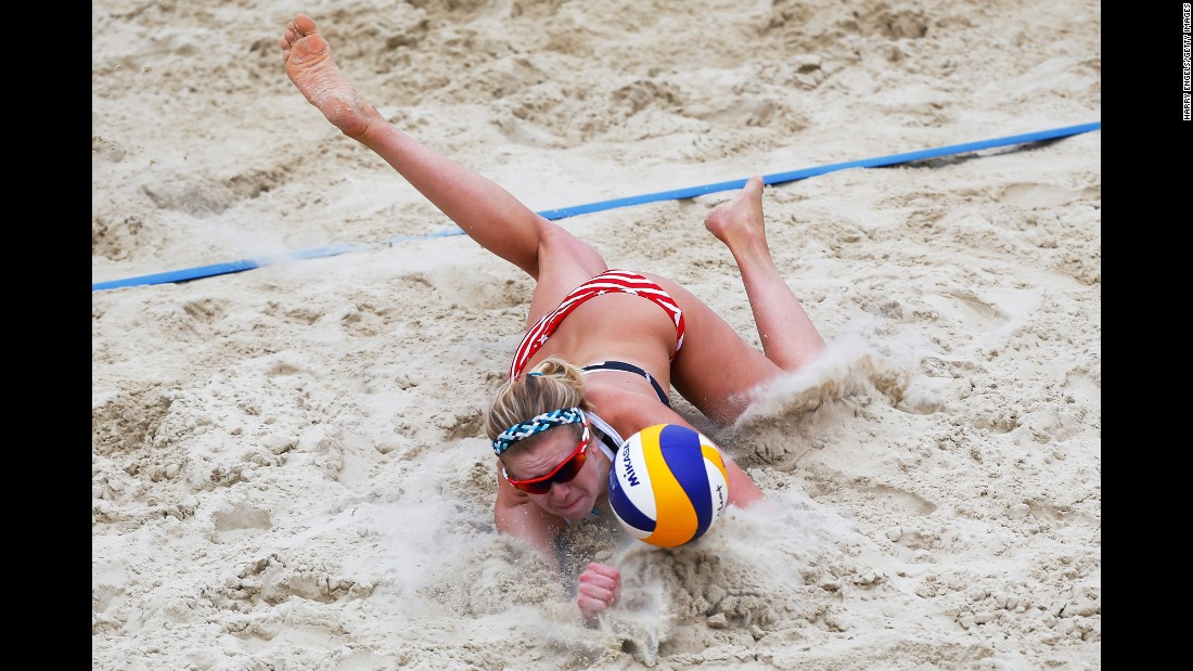 American volleyball player Jennifer Fopma dives for a ball during the Moscow Grand Slam event on Friday, May 29.
