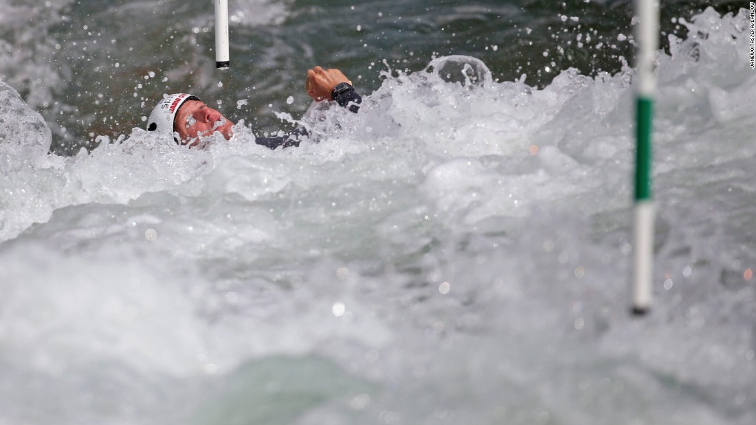 Slovenia's Benjamin Savsek competes in the European Canoe Slalom Championships in Markkleeberg, Germany, on Saturday, May 30. He won gold in the singles competition.