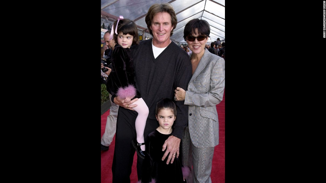 "The Jenner family attends the premiere of ""The Emperor's New Groove"" in 2000. Jenner and Kris had two kids together: Kylie, left, and Kendall."