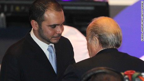FIFA president Joseph Blatter (R) congratulates Jordan's Prince Ali bin al-Hussein, head of the Jordan Football federation, after he won the votes of the Asian Football Confederation for the FIFA vice-presidency during the 24th AFC Congress in Doha on January 6, 2011.