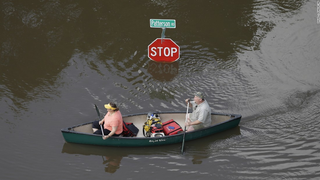 "People canoe through floodwaters in Houston on Saturday, May 30. Torrential rains gave Texas its wettest month on record, <a href=""http://today.tamu.edu/2015/05/27/may-wettest-month-ever-in-texas/"" target=""_blank"">according to Texas A&M climatologists.</a> And <a href=""http://www.cnn.com/2015/05/24/us/gallery/texas-oklahoma-flash-flood/index.html"" target=""_blank"">extreme river and creek flooding</a> has broken many records and swept away hundreds of homes."