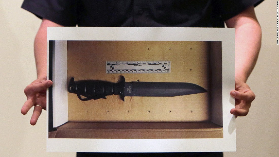 "A Boston police officer holds a photograph of the knife that they say Usaamah Rahim was waving at police officers <a href=""http://www.cnn.com/2015/06/04/us/boston-police-shooting/index.html"" target=""_blank"">when they fatally shot him</a> on Tuesday, June 2. The FBI and Boston police made their move on Rahim because a bugged phone call tipped them off that he was about to act in an alleged plot to kill police, authorities say. The FBI had been watching him for a few years, and officials believe he was radicalized by the ISIS militant group."