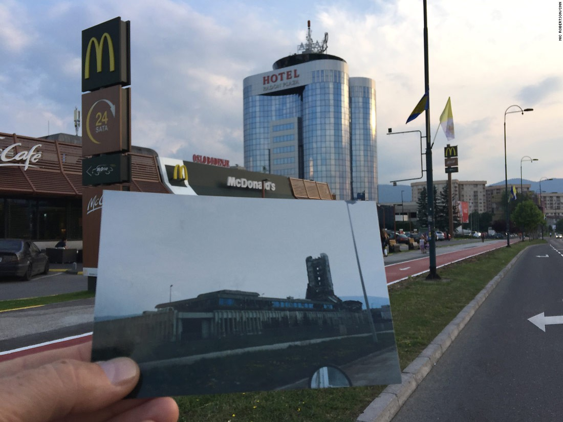 "This hotel and a branch of fast food chain McDonald's have been built alongside Sarajevo's ""Sniper Alley"" -- CNN camerawoman Margaret Moth was shot and seriously wounded nearby."
