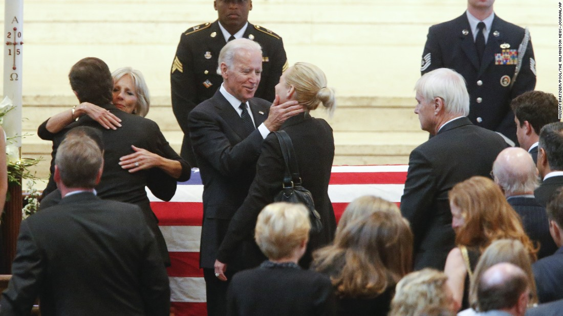 Vice President Joe Biden and his wife, Jill, greet mourners during the viewing for Beau Biden inside St. Anthony of Padua in Wilmington, Delaware, on Friday, June 5.