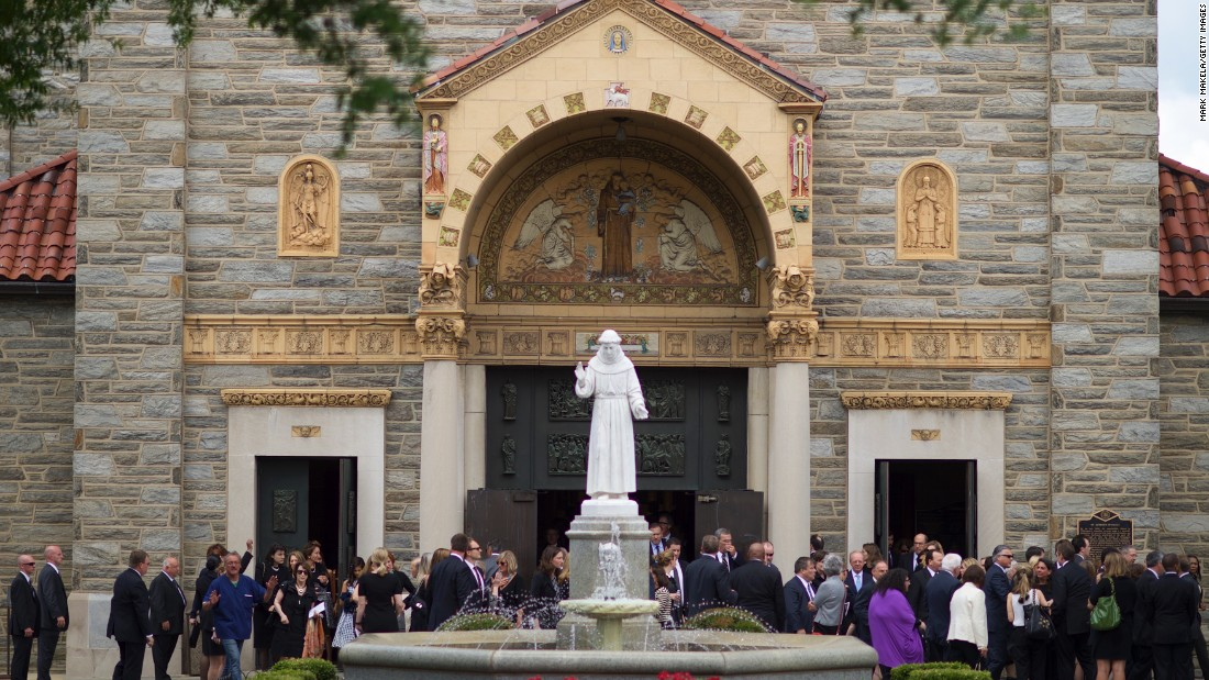 Mourners exit St. Anthony of Padua Catholic Church after a Mass of Christian burial was held for former Delaware Attorney General Beau Biden on Saturday, June 6, in Wilmington. Biden, Vice President Joe Biden's eldest son, died at the age of 46 after a battle with brain cancer.