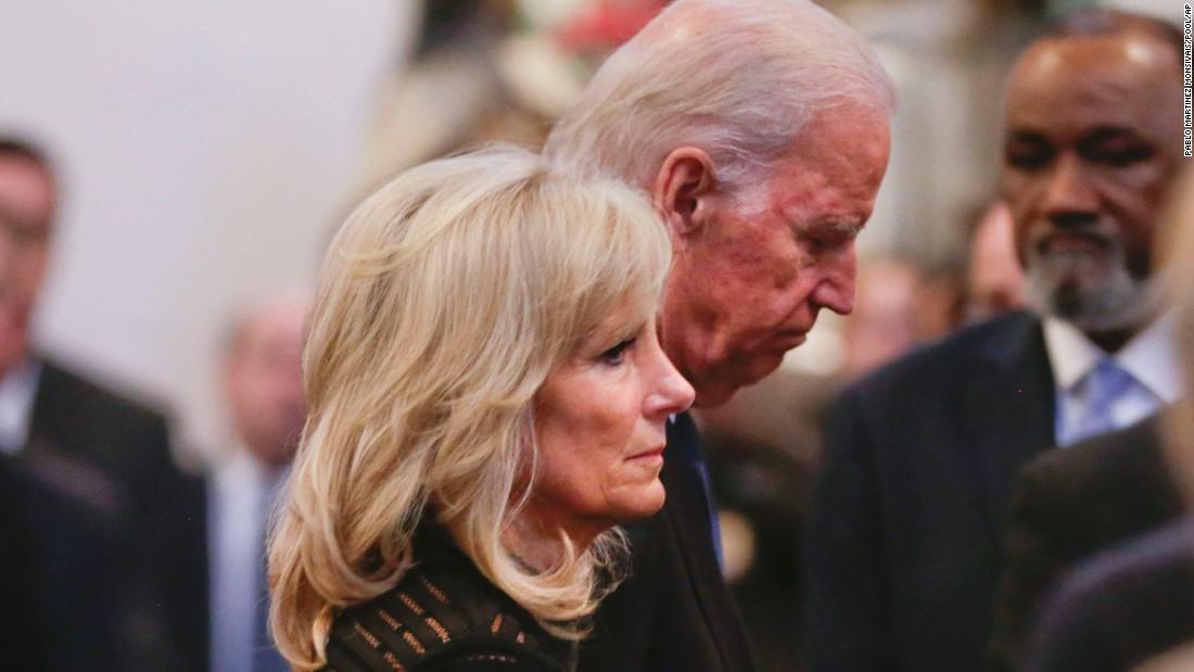 Vice President Joe Biden and his wife, Jill Biden, depart after the service on June 6.