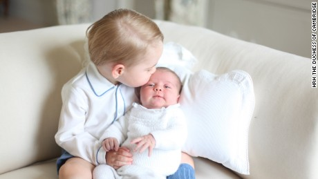 Princess Charlotte is seen with her big brother, Prince George, for the first time in a new photo released by Kensington Palace on Saturday, June 6.