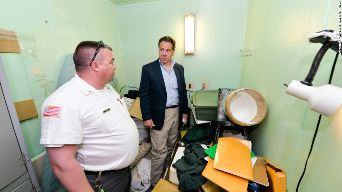"Gov. Andrew Cuomo, shown during a tour of the prison, said of the escapees: ""These are dangerous people. They are nothing to be trifled with."""