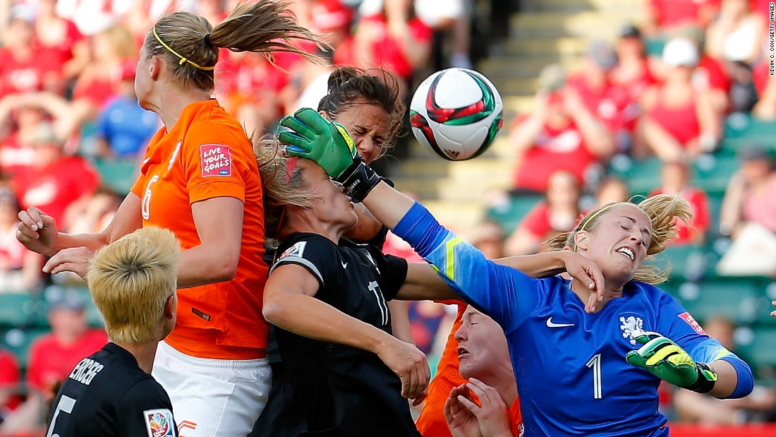 Dutch goalkeeper Loes Geurts, right, defends a corner kick against New Zealand on Saturday, June 6. The Netherlands won the match 1-0 in Edmonton.