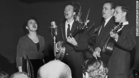 Ronnie Gilbert, left, performs with other members of the Weavers in this circa 1948 image.