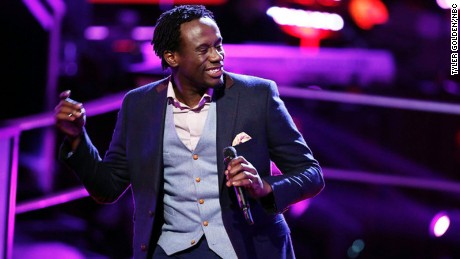 "Anthony Riley performs on an episode of ""The Voice"""