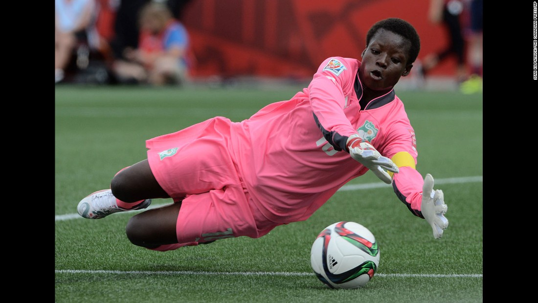 Ivory Coast's Dominique Thiamale makes a save during the first half.