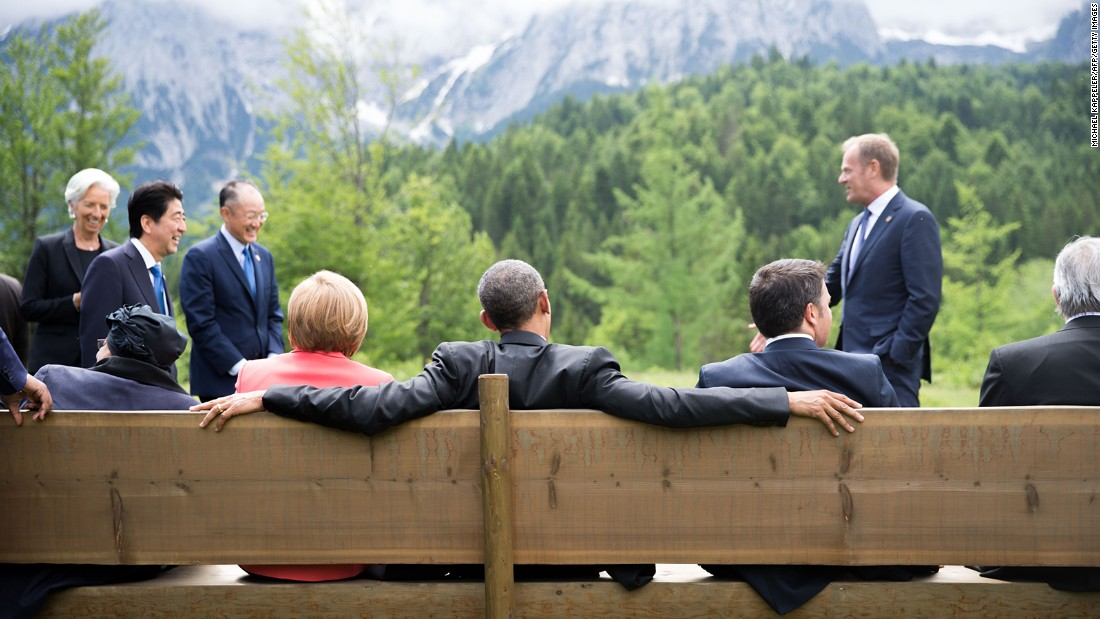 On the bench, from left: Liberian President Ellen Johnson Sirleaf, Merkel, Obama and Renzi sit on a bench outside Elmau Castle on June 8.