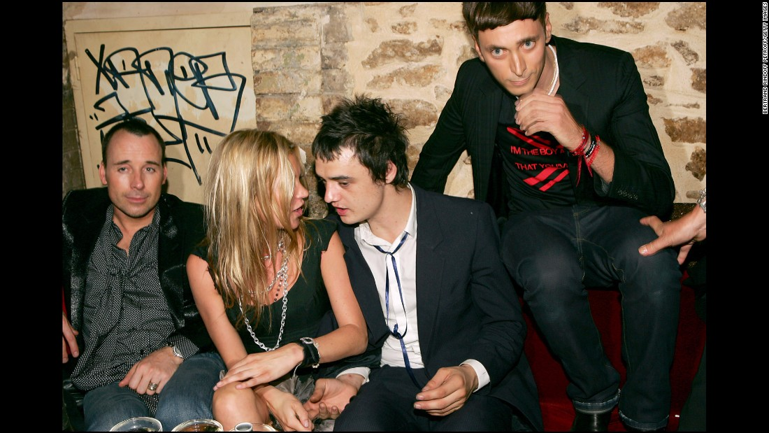 Moss' turbulent, on-and-off relationship with musician Pete Doherty regularly captured headlines in the British press for all the wrong reasons. The couple is seen here in 2006.