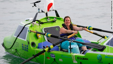American rower Sonya Baumstein, from Orlando, Fla., rows a boat as she leaves Choshi Marina in Choshi, a port east of Tokyo, headed for San Francisco Sunday, June 7, 2015. Baumstein hopes to finish the 9,600-kilometer (6,000-mile) journey by late September and become the first woman to row solo across the Pacific in the 23-foot (7-meter) -long vessel. (AP Photo/Shizuo Kambayashi