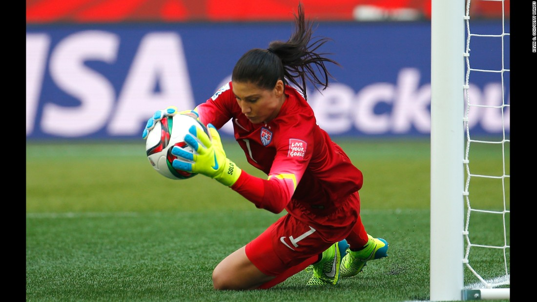 U.S. goalkeeper Hope Solo makes a save in the first half.