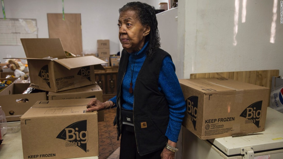 Alice Lawrence collects day-old food from groceries to feed the poor.