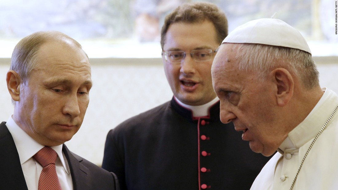 "Russian President Vladimir Putin, left, <a href=""http://www.cnn.com/2015/06/10/world/putin-italy-visit/index.html"" target=""_blank"">meets Pope Francis</a> at the Vatican on Wednesday, June 10, 2015. The Pope gave Putin a medallion depicting the angel of peace, Vatican spokesman Federico Lombardi said. The Vatican called it ""an invitation to build a world of solidarity and peace founded on justice."" Lombardi said the pontiff and President talked for 50 minutes about the crisis in Ukraine and violence in Iraq and Syria."