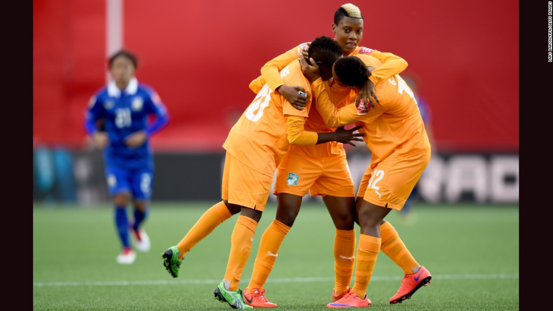 Ange Nguessan celebrates after scoring the Ivory Coast's first goal.