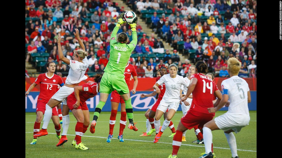 Canada goalie Erin McLeod makes a save.