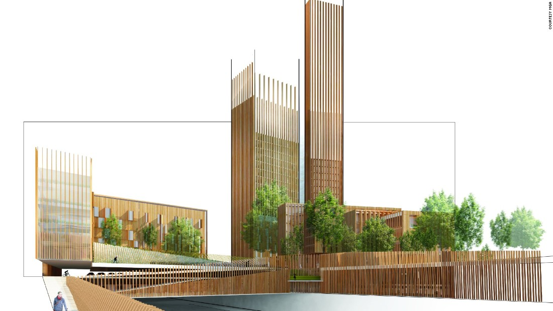 Architect Michael Green suggests wood could become a popular and sustainable material for constructing large urban buildings.