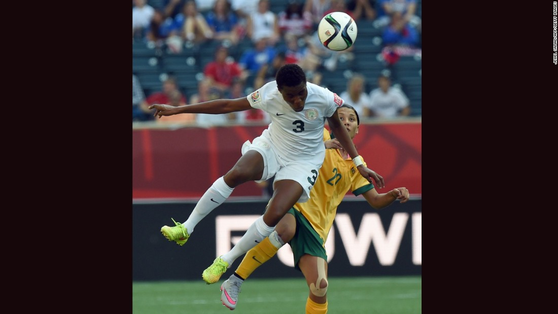 Nigeria defender Osinachi Ohale, left, and Australia forward Samantha Kerr compete for the ball.