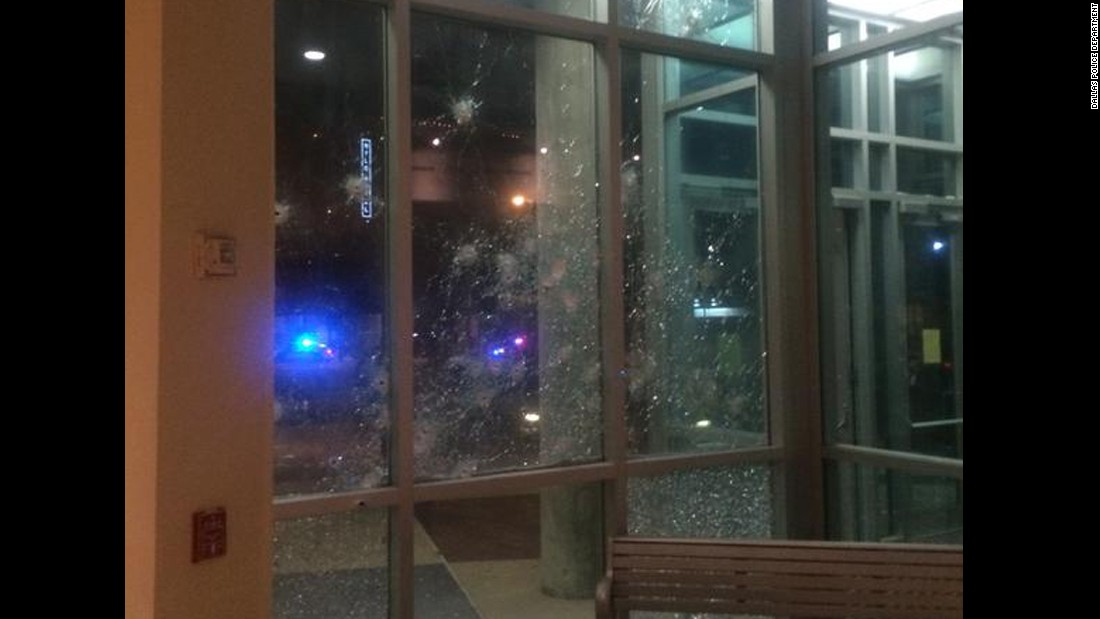Dallas police posted on Twitter this image of damage to the headquarters.