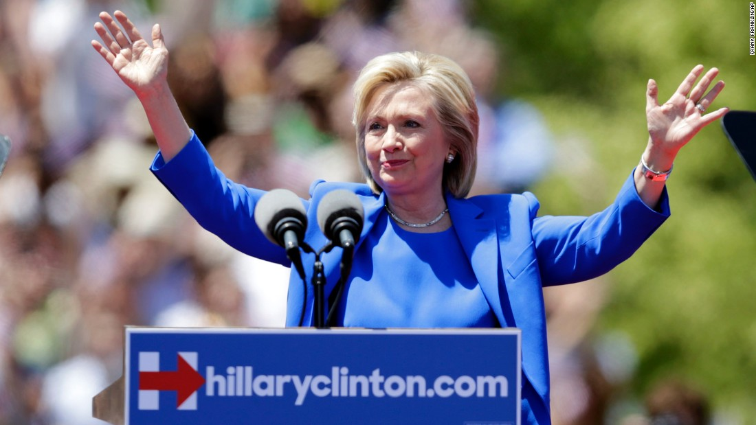 Democratic presidential candidate Hillary Clinton gestures before speaking to supporters Saturday, June 13 on Roosevelt Island in New York City. The speech was promoted as her formal presidential campaign debut.
