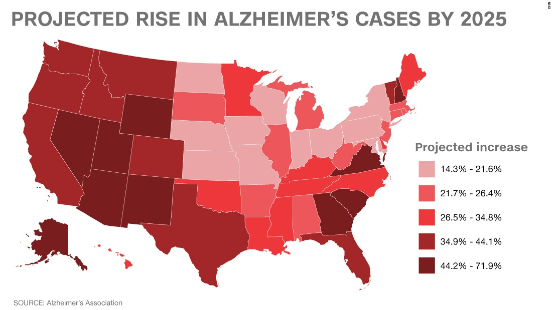 Alzheimers Disease In The United States Prediction CNN - Projected heat map of us