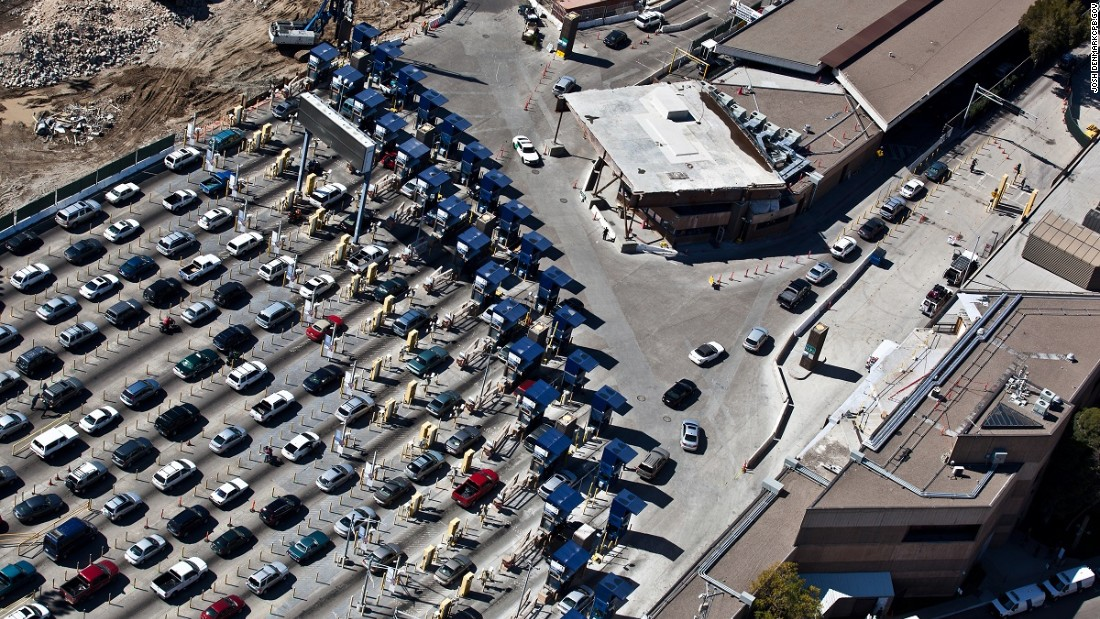 Cars line up at the Customs and Border Protection inspection station at San Ysidro, California, one of the busiest land ports in the Western Hemisphere. The district is north of the U.S.-Mexico border and is often used by travelers between San Diego and Tijuana, Mexico.