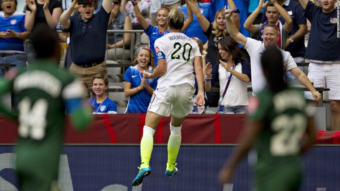 U.S. forward Abby Wambach celebrates her goal against Nigeria.
