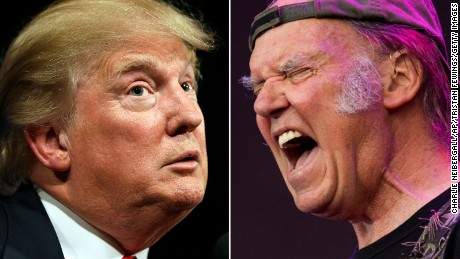 Republican presidential candidate Donald Trump speaks to supporters during a rally, Tuesday, June 16, 2015, in Des Moines, Iowa. (AP Photo/Charlie Neibergall)  LONDON, ENGLAND - JULY 12:  Neil Young and Crazy Horse perform on stage at British Summer Time Festival>> at Hyde Park on July 12, 2014 in London, United Kingdom.  (Photo by Tristan Fewings/Getty Images)