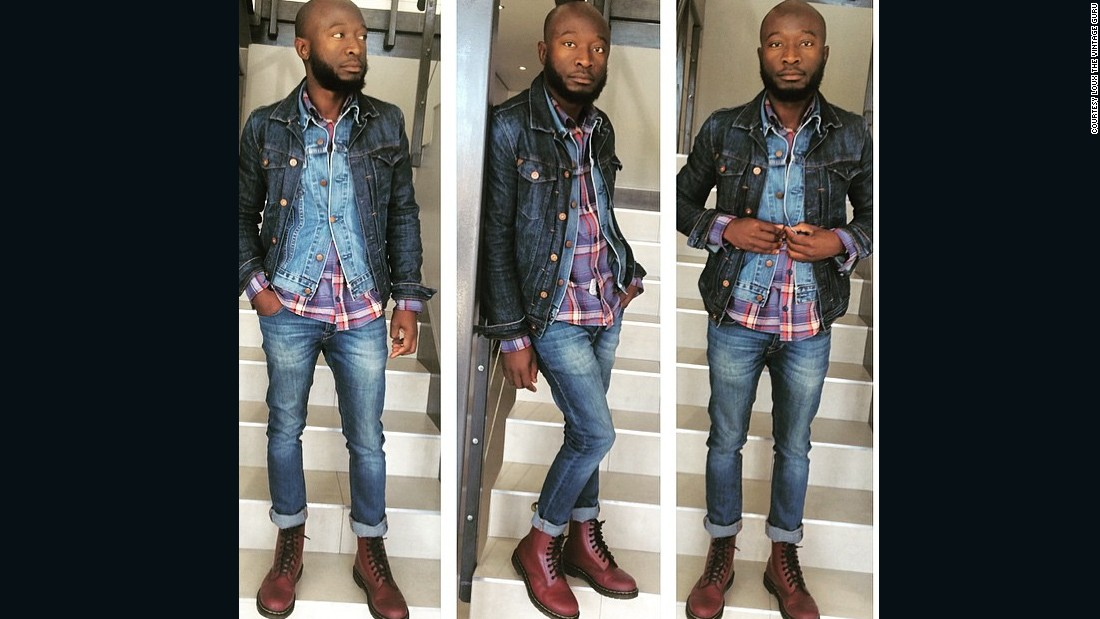 """People should know that Africa is a continent that has talent, from sports to fashion,"" he says, pictured here rocking a triple denim look with vintage cherry-red Doc Martin boots."