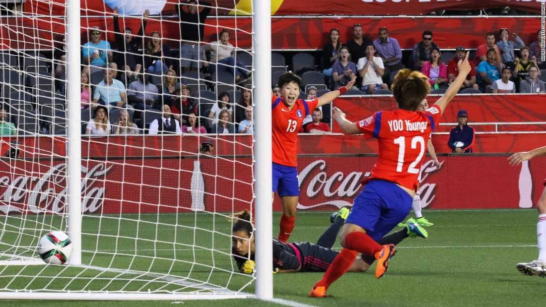Hahnul Kwon and Younga Yoo celebrate as the ball goes into the net behind Spanish goalkeeper Ainhoa Tirapu.