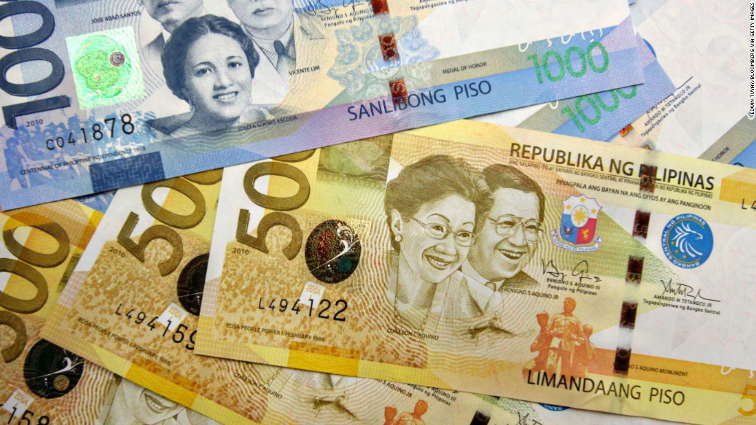 Corazon Aquino, who served as president of the Phillippines from 1986 to 1992, appears on the country's 500-peso note with her husband, Benigno Aquino.