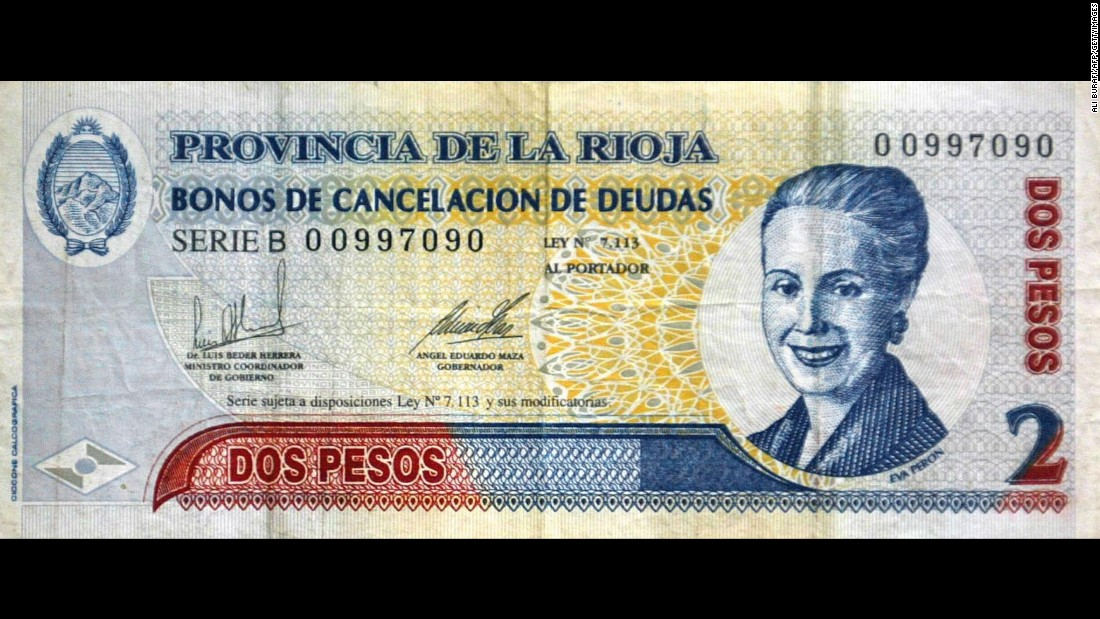 "Argentina celebrated ""Evita,"" former first lady Eva Peron, by putting her on its currency. She's shown here on a 2-peso bill in honor of the 50th anniversary of her death and has appeared on the country's 100-peso note since 2012."