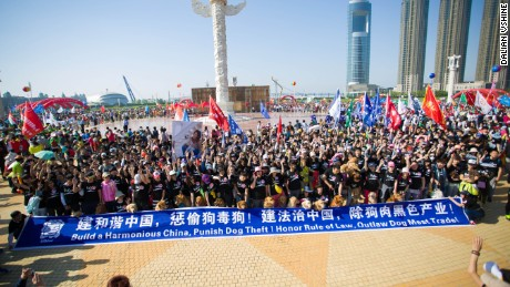 Protesters gather to demonstrate against dog meat trade in China.