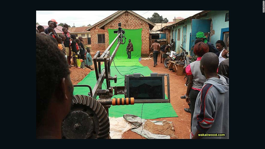 The green screen is a piece of cloth, draped over a wall. The camera crane is made from spare tractor parts by local mechanic Dauda Bissaso.