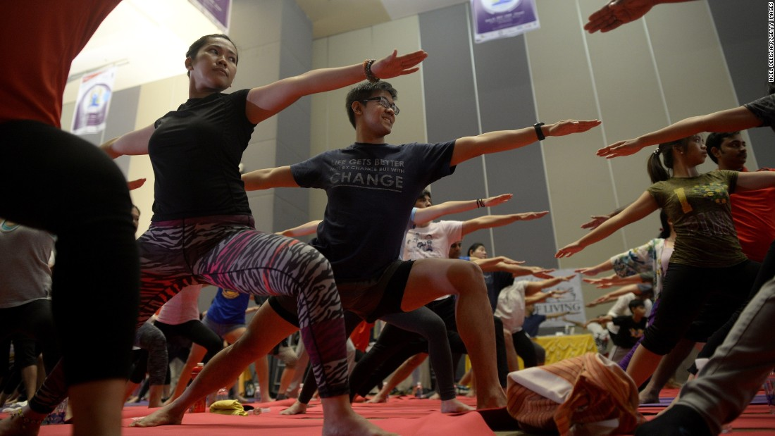 Participants mark International Day of Yoga in Manila, Philippines.