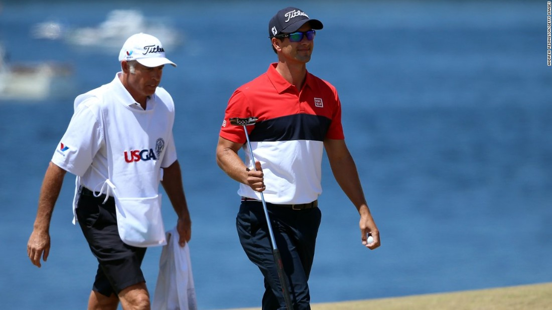 Australia's Adam Scott carded a best of the week 64 to move to three-under-par on the final day of the U.S. Open.