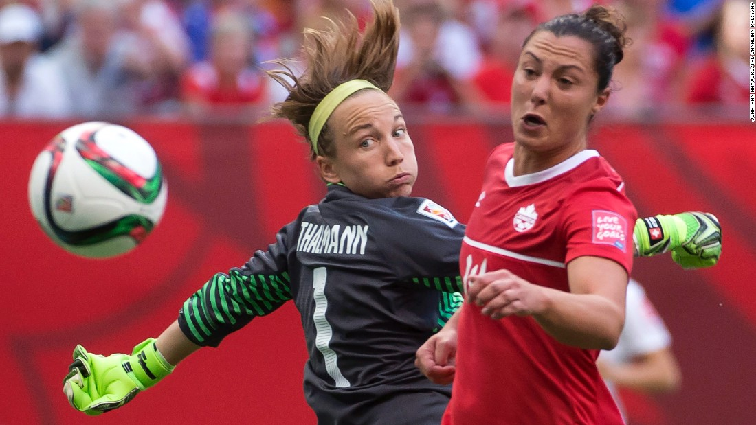 Canada's Melissa Tancredi tries to get a shot past Swiss goalkeeper Gaelle Thalmann.