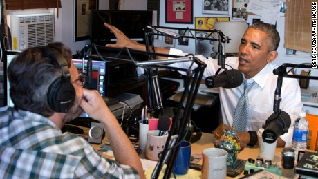 "President Obama speaks with comedian Marc Maron, host of the podcast ""WTF with Marc Maron."""