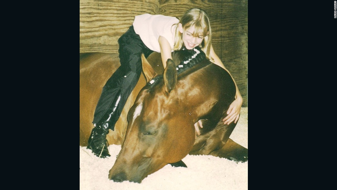 Graves with her first horse, named Sunny.