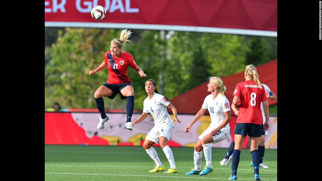 Norway's Ada Hegerberg heads the ball during a round-of-16 match against England on June 22. England trailed 1-0 but came back to win 2-1 in Ottawa.