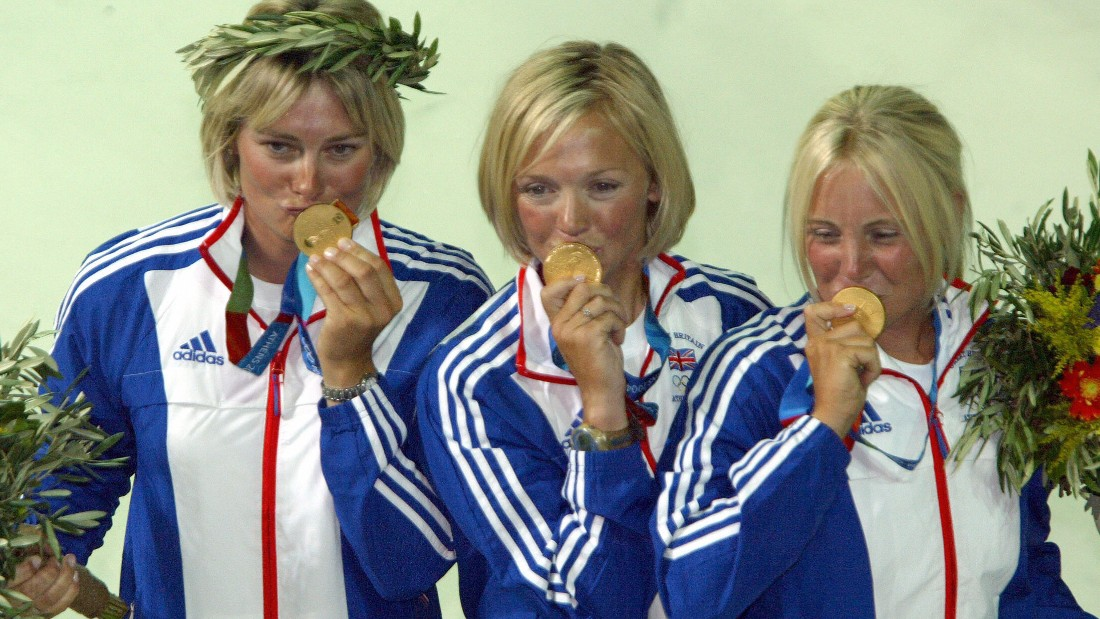 "Ayton (pictured right) gained fame as one of the ""Three Blondes in a Boat"" who won Britain sailing gold in the Yngling class at the 2004 Olympics."
