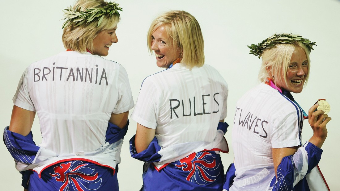 Ayton (far right) teamed up with Sarah Webb and Shirley Robertson -- now CNN's Main Sail presenter -- as Britain dominated the sailing in Athens.